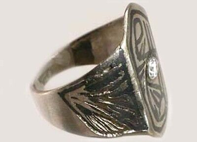 Antique 19thC Russia Ukraine Crimean Tartar Silver Etched Enamel Niello Ring Sz8