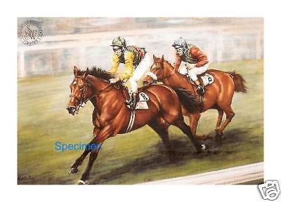 Nijinsky Lester Piggott Signed Print Horse Racing 'The Triple'  Genuine.
