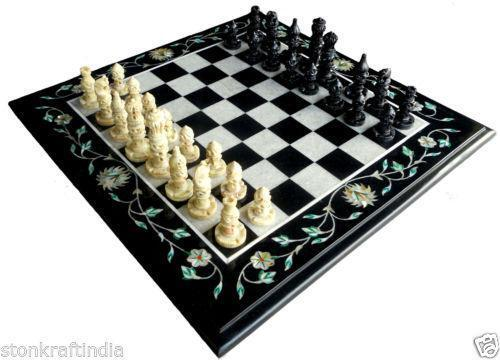 Marble chess pieces ebay - Granite chess pieces ...