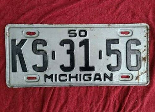 1950 Michigan License Plate Original KS 31 56 Silver