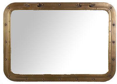 Rectangular Antique Brass Finish Wall Mount Porthole Mirror