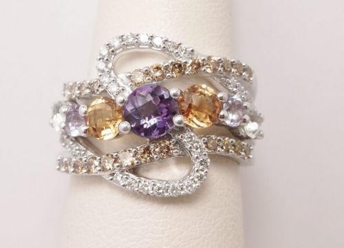 Multi Color Diamond Ring Ebay