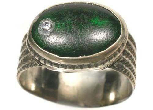 17thC Russian Ukraine Crimean Tatars Silver Ring Tourmaline Green Glass Gem Sz8½