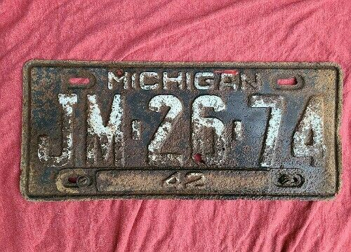 1942 Michigan License Plate JM 26 74 Original with Tab Kalamazoo