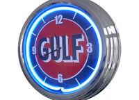 N-0249 Gulf - Decoración Retro Neón Reloj De Pared Neon Taller -  - ebay.es