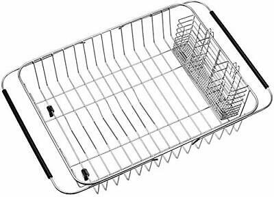 SANNO Dish Drying Rack with Stainless Steel Utensil Holder Large Dish Rack Drain