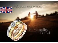 Multilayer Stainless Steel Cubic Zircon Rings Set Cross Tri-colour Gold Circles Finger Ring