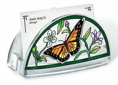 Business Card Holder Flowers Butterfly Acrylic New Green Orange Black