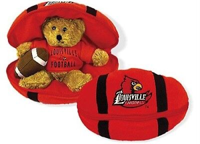 University Of Louisville Cardinal Football - University of Louisville Cardinals PLUSH Football with Bear **NEW WITH TAGS**