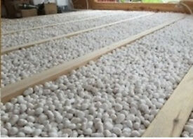Underfloor fireproof cavity infill, glass bead insulation