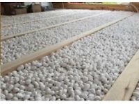 Underfloor fireproof cavity infill, glass bead insulation