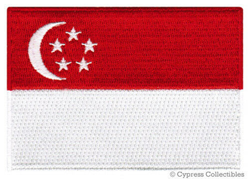 SINGAPORE FLAG embroidered iron-on PATCH SINGAPOREAN applique NATIONAL EMBLEM