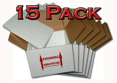 Insulated Shipping Box 7 X 7 X 6 - 15 Pack  With 12 Foam