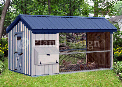 6 X 12 Large Walk In Gable A-frame Roof Style Chicken Coop Plans  80612cg