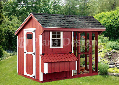 4 X 8 Combination Saltbox Chicken Coop Plans Material List Included 80408cs