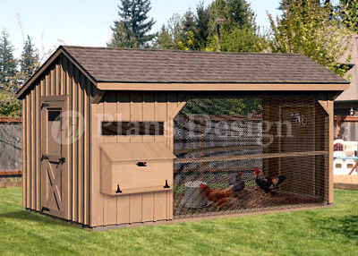 6 X 12 Walk In Saltbox Chicken Coop Plans Material List Included 80612cs