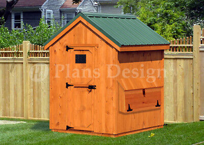 Chicken Coop Plans 6 By 6 Full Size Kennel Hen House Gable Roof 90606cg