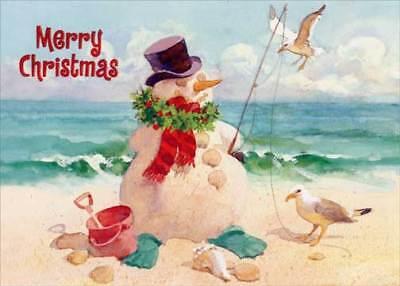 Snowman on Beach Red Farm Studios Christmas Card