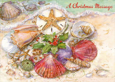 Red Farm Studios Multi Colored Shells on Beach Box of 18 Coastal Christmas Cards ()