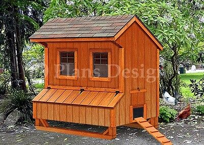 5 X 6 Chicken Coop Plans Saltbox Style Design E90506s Special Price 12.95