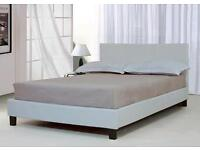 Double, snow, white, leather bed, with, padded, mattress.
