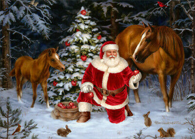 Santa with Two Horses - Box of 18 LPG Christmas Cards ()