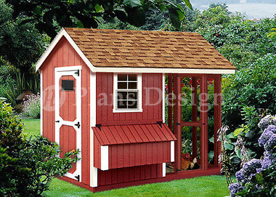 4 X 8 Combination Gable Chicken Coop Plans Material List Included 80408cg