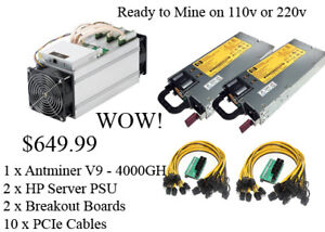 NEW Antminer V9 4Th + Dual HP Power Supply + Breakoutboard $649!