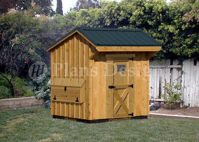Chicken Coop Plans 6 By 6 Duck Hen House Saltbox Roof Poultry Style 90606cs