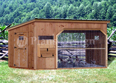 6' x 12' Walk in Modern Chicken Coop Plans, Material List Included # 80612CM