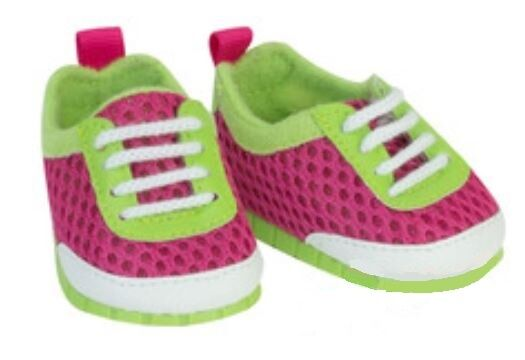 "Pink n Green Athletic Mesh Sneakers for 18"" American Girl or Bitty Baby Doll Shoes"