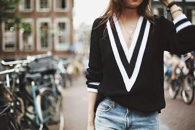 RAG & BONE Talia Deep V-Neck Ribbed Tennis Cable Knit Sweater - Black S Deep V-neck Cable Sweater