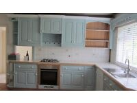 Kitchen units - painted wood. Base and wall units. Cupboards and drawers.