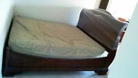 King size bed frame (headboard, footboard, side rails)