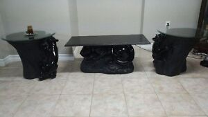 Coffee table and two end tables for sale.