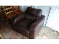 John Lewis brown leather chair