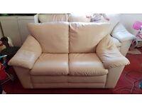 Cream leather 2 & 3 seater sofa