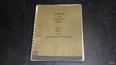Giddings Lewis Vertical Boring Mill Operators Parts Manual Db49