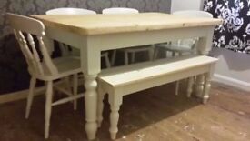 Solid Pine Farmhouse Table Chairs + Farmhouse Bench- Farrow and Ball