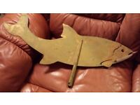 Antique vintage brass weather vane fish