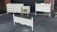 Ensemble Commode Lit Table Chevet Vintage Antique Shabby Chic