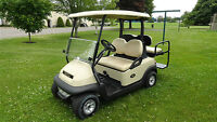ELECTRIC CLUB CAR GOLF CART W/REAR FLIP SEAT, LIGHTS