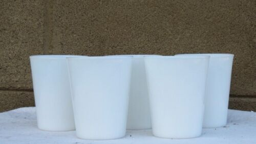 5 Antique Vintage Milk Glass High Ball Size Drinking Glasses