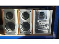 Music stereo with twin speakers
