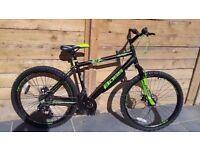 "Boss Blade Mens 26 "" Wheel Alloy HT Mountain Bike black green matt 18 gears dual disc bargain"