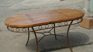 RUSTIQUE WROUGHT IRON LEGS DINING ROOM TABLE $250.00