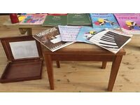 Excellent condition 25 piano books for beginners, book case, piano metronome and piano stool