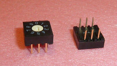 New 10pcs Sw-54-rh3h-10rb-umts Rotary Dip Switch 6-pin Gold Pcb 10 Position