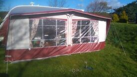 "Caravan Awning - INCA ""Sands"" Burgundy / Grey acrylic awning in good condition"