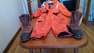 ICE FISHING SUIT, BOOTS AND GEAR BOX